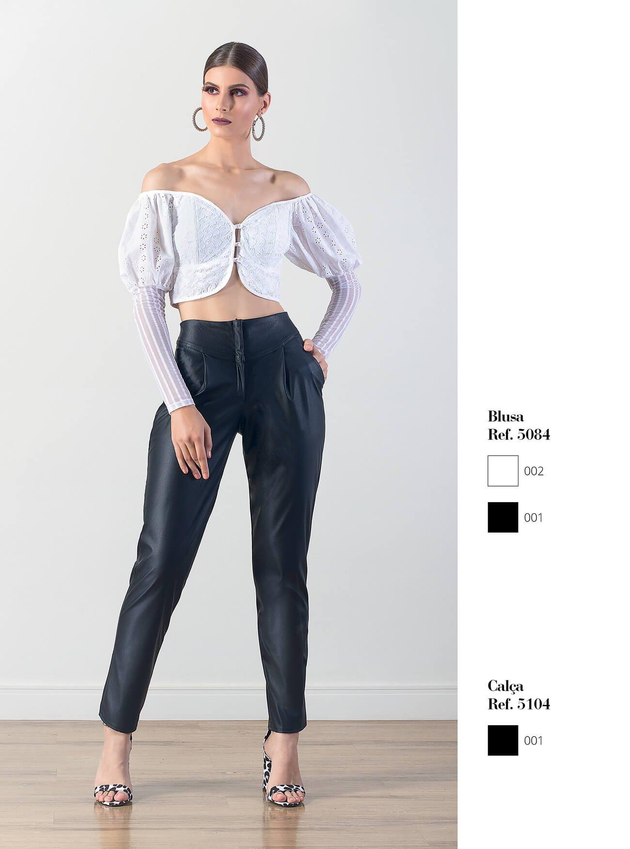 Cropped estilo vitoriano | Calça de couro fake