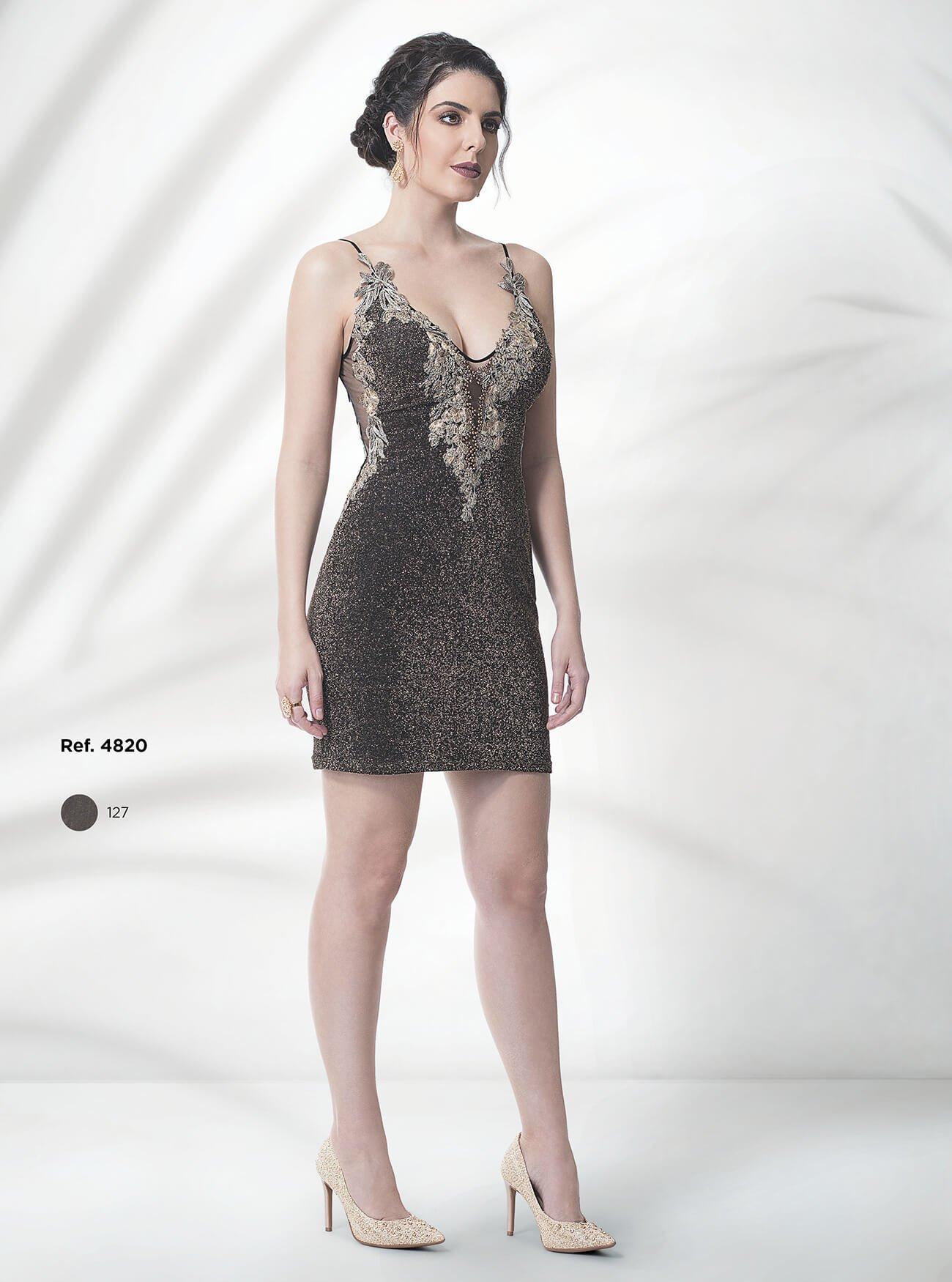 Vestido curto de malha lurex