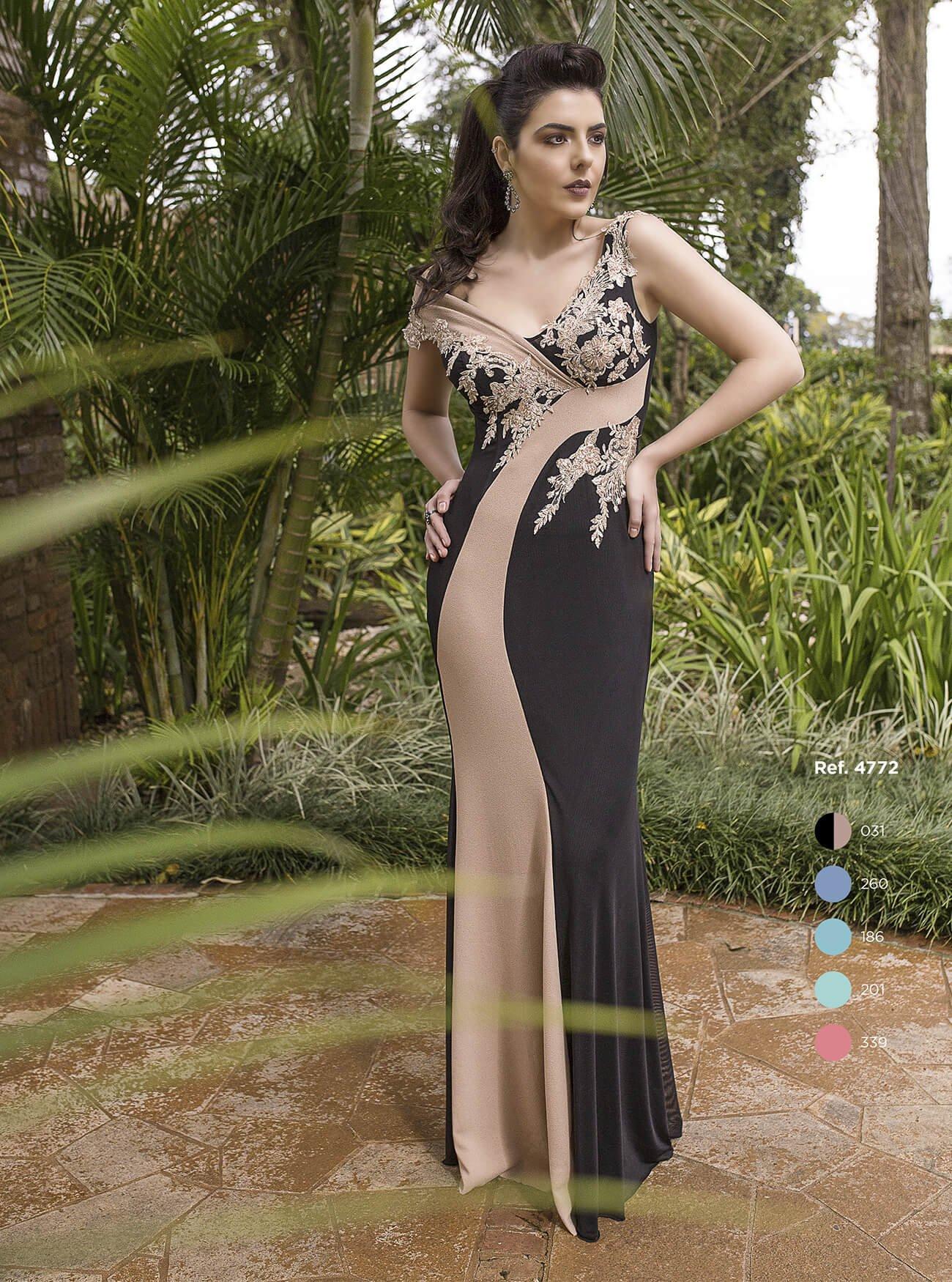 Vestido sereia assimétrico com bordado de renda