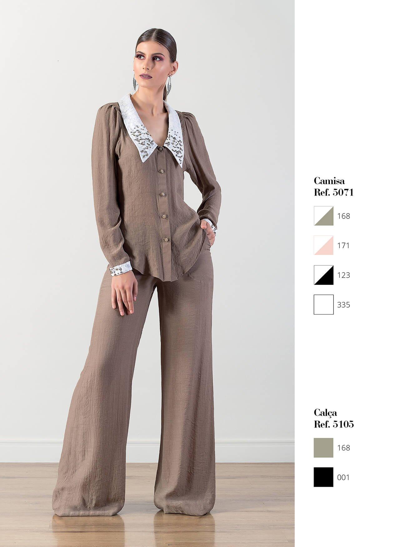 Camisa com renda | Calça pantalona