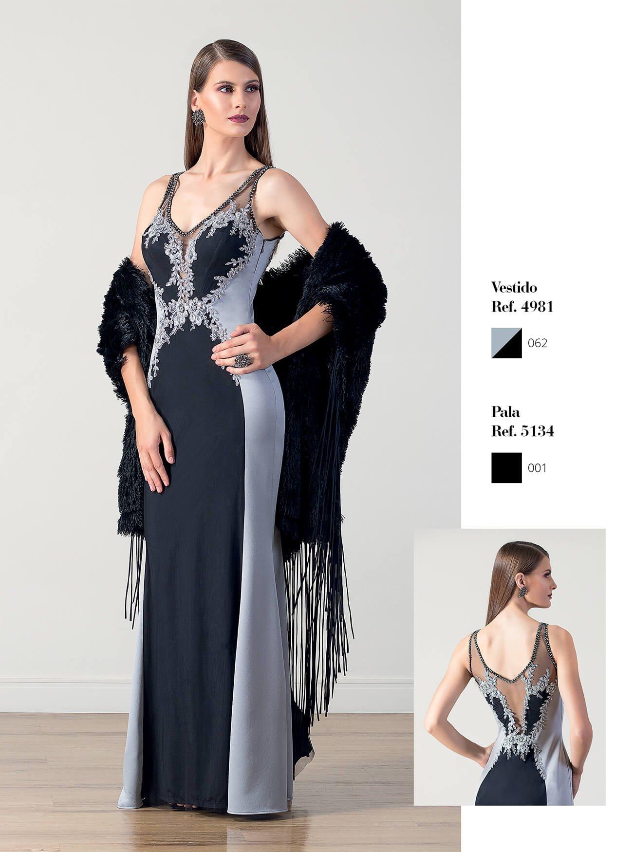 Vestido longo com recortes | Echarpe em pele com franjas