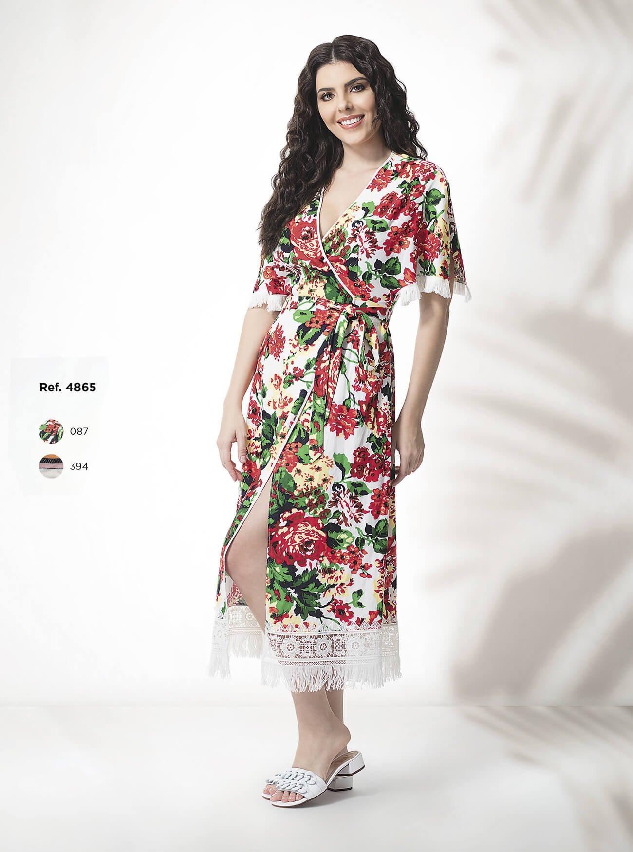 Vestido midi floral transpassado
