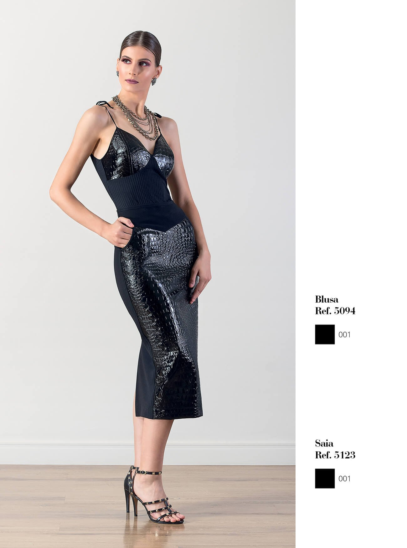 Blusa estilo corselet crocodilo couro fake | Saia lápis crocodilo couro fake