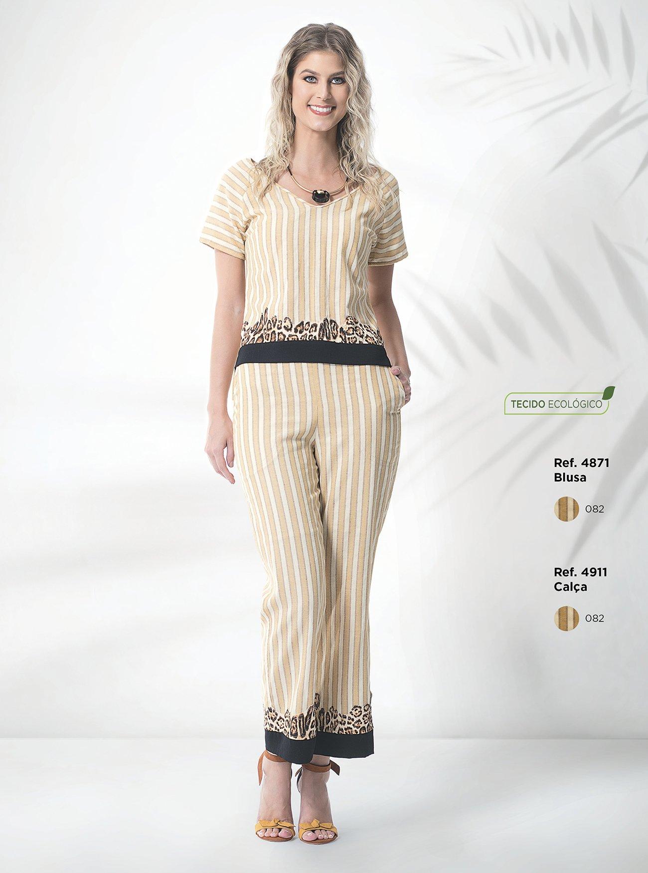 Blusa listrada com barrado animal print | Calça pantacourt listrada de linho