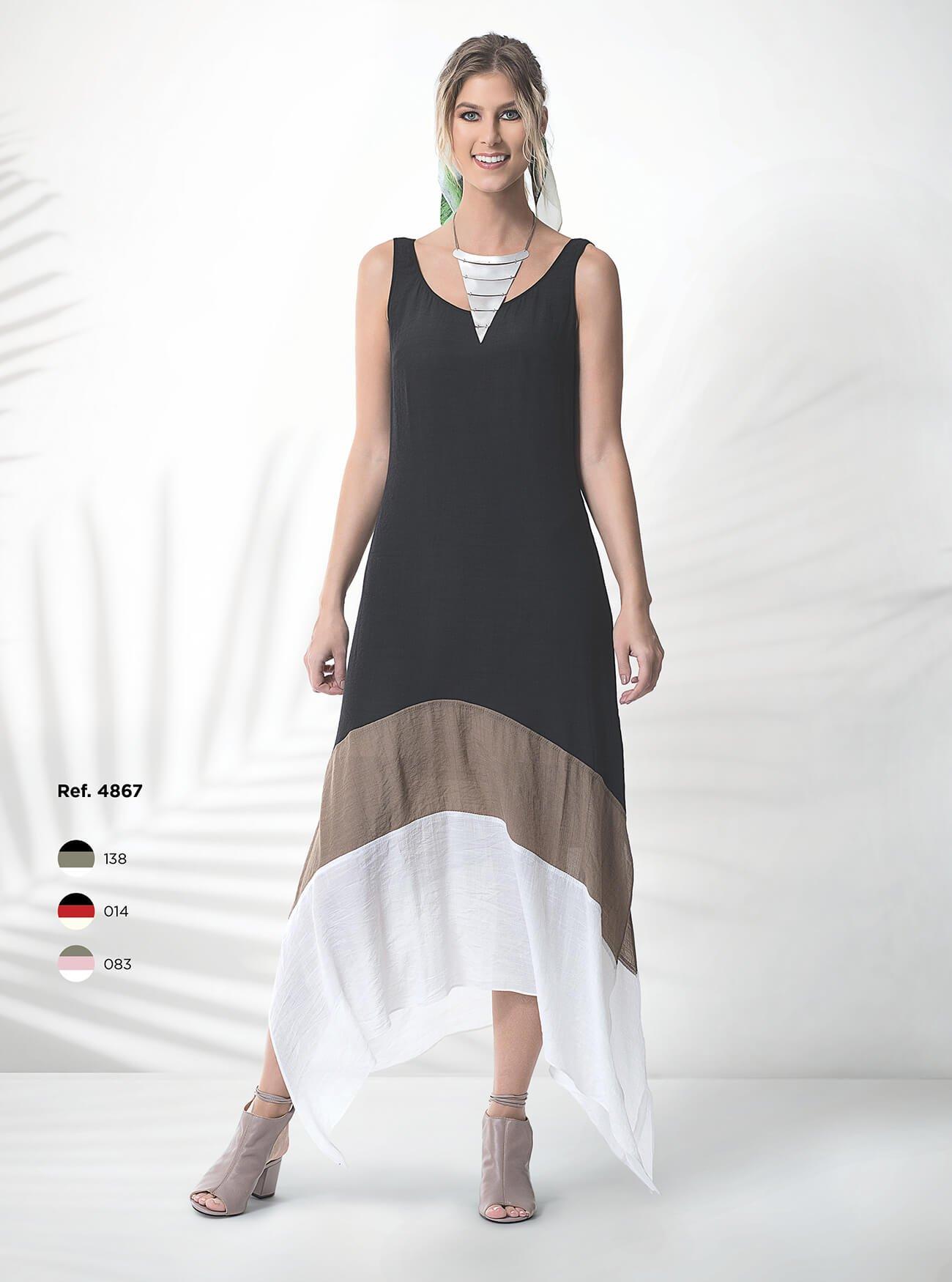 Vestido midi com 3 cores e detalhes com pontas