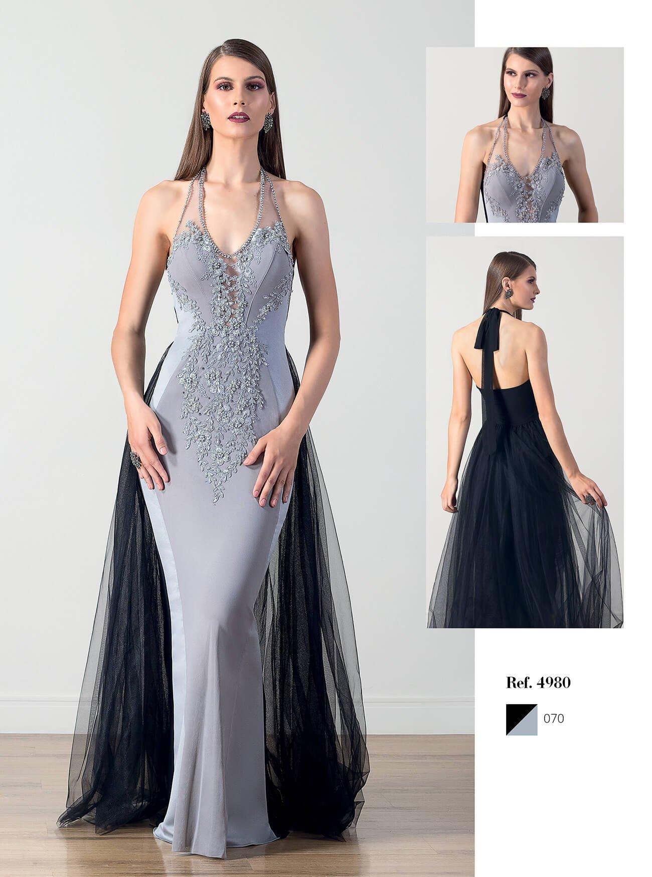 Vestido longo sereia com saia em tule