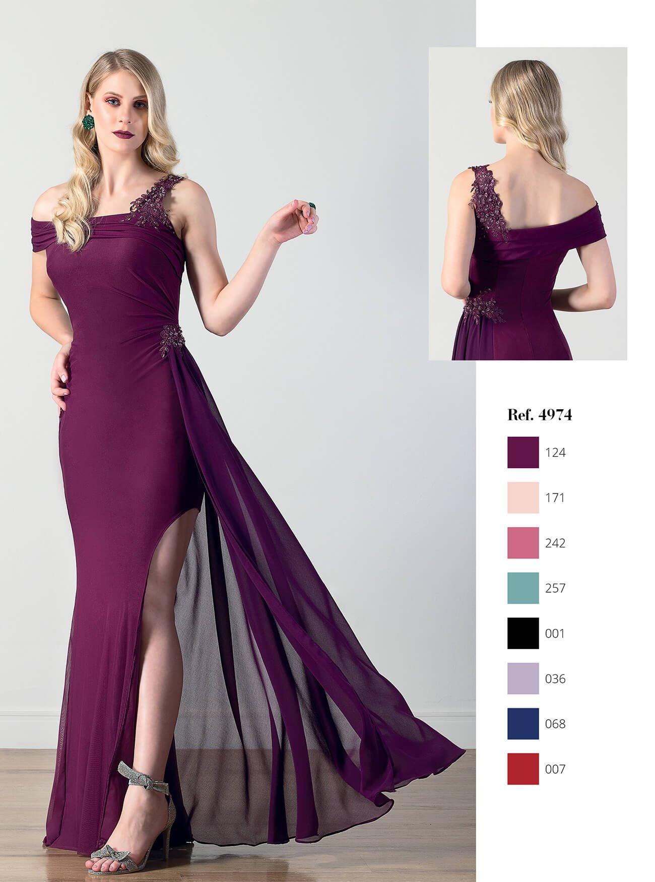 Vestido longo assimétrico com drape